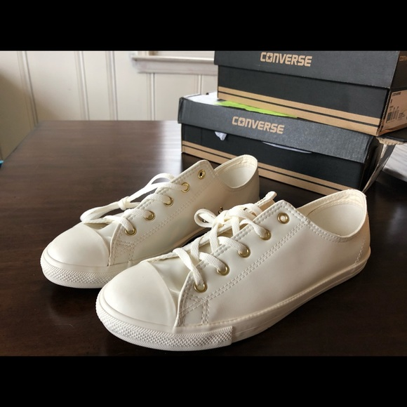 White Converse With Gold Eyelets